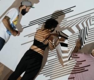 Creating the tape art installation
